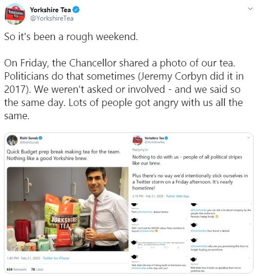 Yorkshire Tea twitter thread calling for Twitter users to be kind