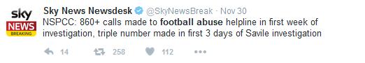 Sky Newsdesk tweet football abuse